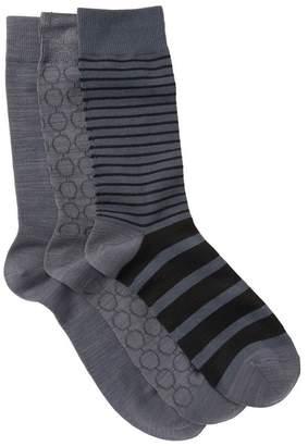 Nordstrom Ultra Soft Stripe Circles Crew Socks - Pack of 3