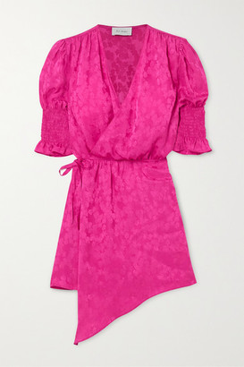 ART DEALER Tyra Asymmetric Satin-jacquard Mini Wrap Dress - Fuchsia