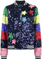 Mira Mikati Sequin Bomber With Rainbow Sleeves