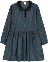 Little Karl Marc John Ravy Peter Pan Collar Iridescent Stripe Dress