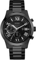 GUESS Men's Chronograph Atlas Black Stainless Steel Bracelet Watch 45mm U0668G5