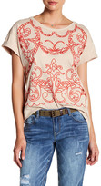 Democracy Asymmetrical Embroidered Hi-Lo Tee