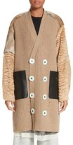 Undercover Women's Knit Cardigan Coat With Leather, Mohair & Genuine Rabbit Fur Trim