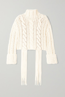 Area Cropped Tasseled Crystal-embellished Cable-knit Cotton-blend Sweater - White