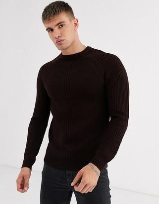 Burton Menswear chunky knit jumper in salt and pepper-Grey
