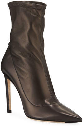 Jimmy Choo Brin Stretch Leather 100mm Ankle Booties