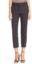 Theory Tile Check Stretch Gabardine Crop Pant