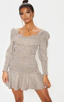 PrettyLittleThing Beige Check Print Shirred Long Sleeve Bodycon Dress