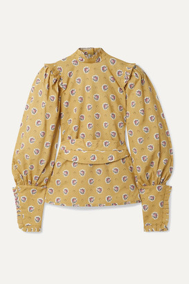 ANNA MASON Harper Belted Ruffled-trimmed Printed Cotton Top - Yellow