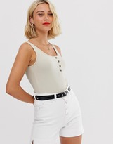 Pieces rib singlet with button front