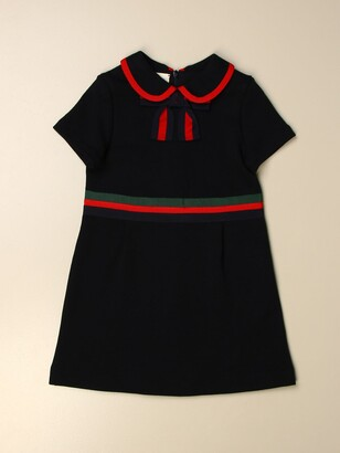Gucci Short Dress In Cotton Jersey With Web Bow