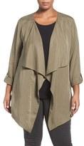 Sejour Plus Size Women's Tencel Lyocell Drape Front Jacket