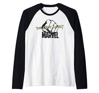 Marvel Hulk The Jade Giant Fist Logo Raglan Baseball Tee