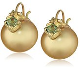 Gabrielle Sanchez 18k Yellow Gold South Sea Pearl Flyer with Princess Cut Sapphires Earrings