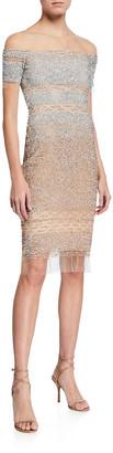 Pamella Roland Ombre Sequin-Embellished Illusion Sheath Dress