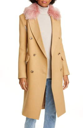 Smythe Wool Blend Cape Coat with Removable Faux Fur Collar
