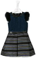 Miss Blumarine faux fur striped dress