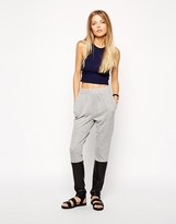 Asos Textured Peg Pants with Leather Look Detail