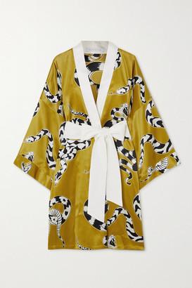 Olivia von Halle Mimi Printed Silk-satin Robe - Gold
