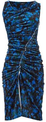 Atlein - Asymmetric Camouflage-print Velvet Dress - Blue Multi