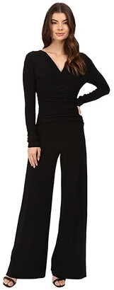 KAMALIKULTURE by Norma Kamali V-Neck Long Sleeve Shirred Waist Jumpsuit (Black) Women's Jumpsuit & Rompers One Piece
