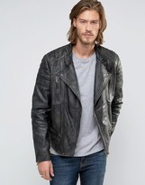 Asos Leather Biker Jacket With Quilting In Black