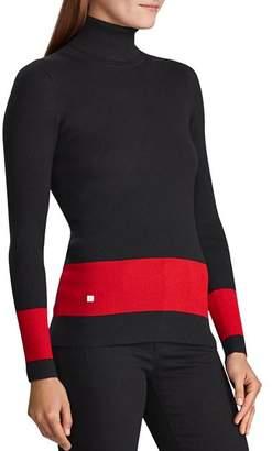 Ralph Lauren Border-Stripe Turtleneck Sweater