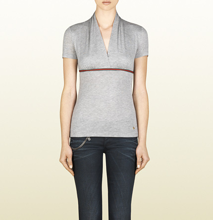 Gucci Viscose Jersey Top With Web Detail