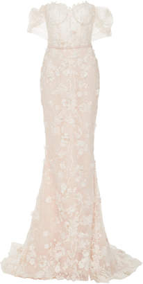 Lulu Mira Zwillinger Strapless Floral-Embroidered Lace and Silk Tulle Gown