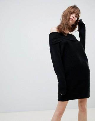 Asos Design DESIGN off shoulder dress in fluffy yarn-Black