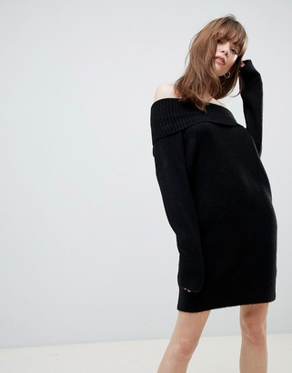 Asos DESIGN off shoulder dress in fluffy yarn