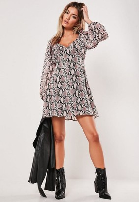 Missguided Pink Snake Print Milkmaid Skater Dress