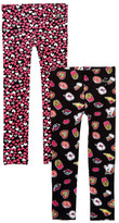 Betsey Johnson Emoji Print & Heart Print Leggings - Set of 2 (Big Girls)