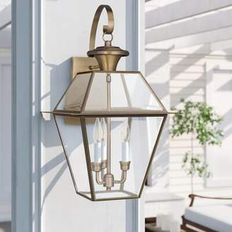 """Three Posts Bevin 3 - Bulb 22.5"""" H Outdoor Wall Lantern Fixture Finish: Antique Brass"""