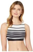 Lauren Ralph Lauren Gradient Stripe Underwire High Neck Bra (Black/White) Women's Swimwear
