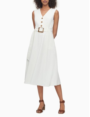 Calvin Klein Button-Front V-Neck Sleeveless Belted Dress