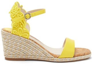 Sophia Webster Cassia Embroidered Espadrille Wedge Sandals - Womens - Yellow