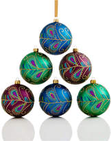 Holiday Lane Set Of 6 Shatterproof Peacock Feather Ball Ornaments, Created for Macy's