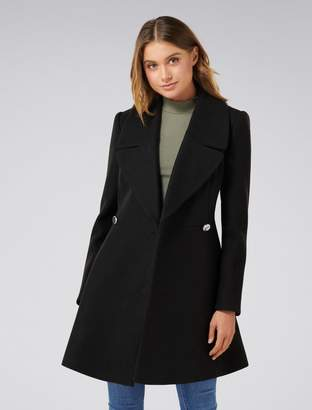 Forever New Hannah Fit and Flare Coat - Black - 4