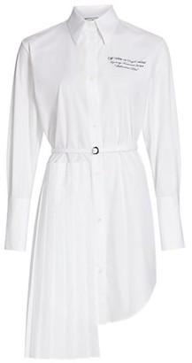 Off-White Popeline Plisse Belted Shirtdress
