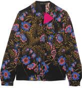 Etro Floral-print Silk-crepe Blouse - Black