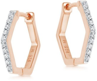 Missoma Pave Rose Gold Hex Huggies