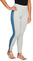 As Is Denim & Co. Active Duo- Stretch Leggings w/ Side Panels