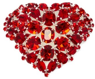 Art School Heart Crystal-embellished Brooch - Red