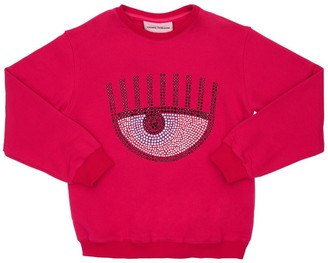 Chiara Ferragni Embellished Eye Cotton Sweatshirt