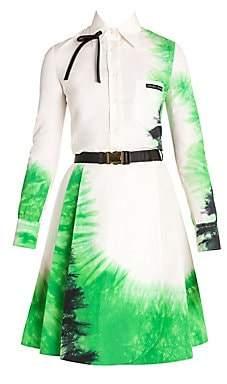 Prada Women's Cotton Poplin Tie-Dye Long Sleeve Shirt