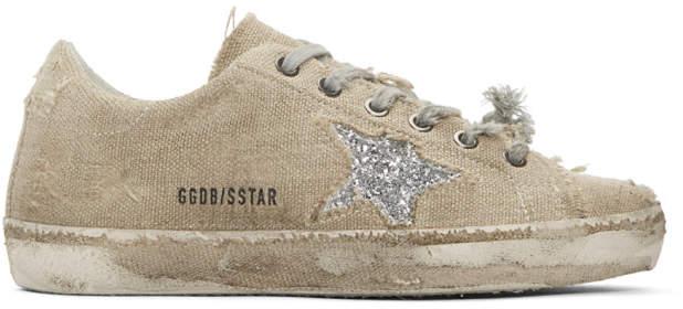 Golden Goose Beige and Silver Glitter Superstar Sneakers
