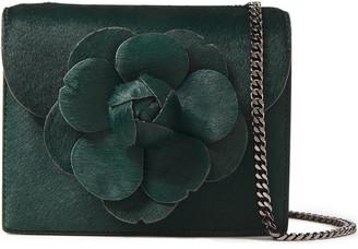 Oscar de la Renta Floral-appliqued Calf Hair Shoulder Bag