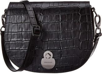 Longchamp Cavalcade Croc-Embossed Leather Crossbody