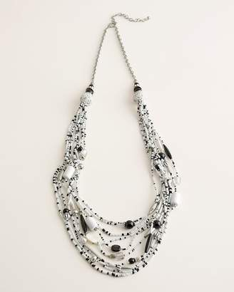 Chico's Chicos Long Black and White Seed Bead Multi-Strand Necklace